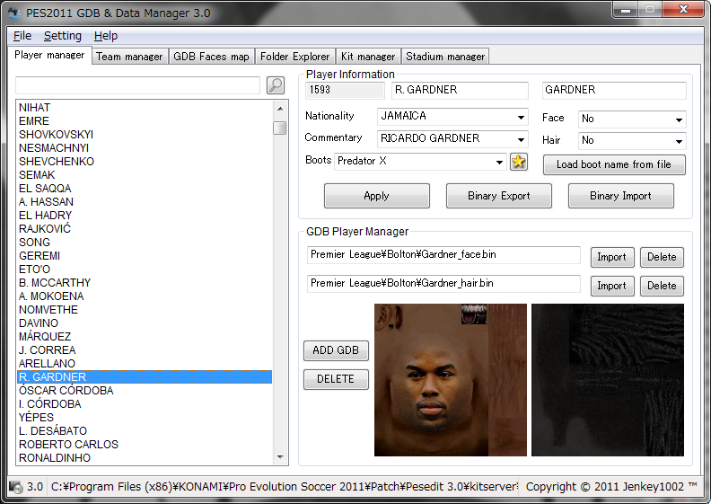 gdb manager pes 2009
