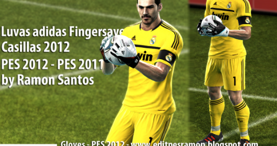 PES 2012 Casillas Luvas Adidas Fingersave Gloves