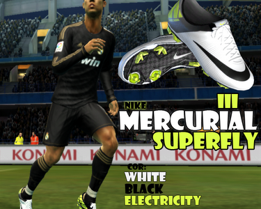 PES 2012 Mercurial Vapor Superfly III Boots  - White, Black, Electricity