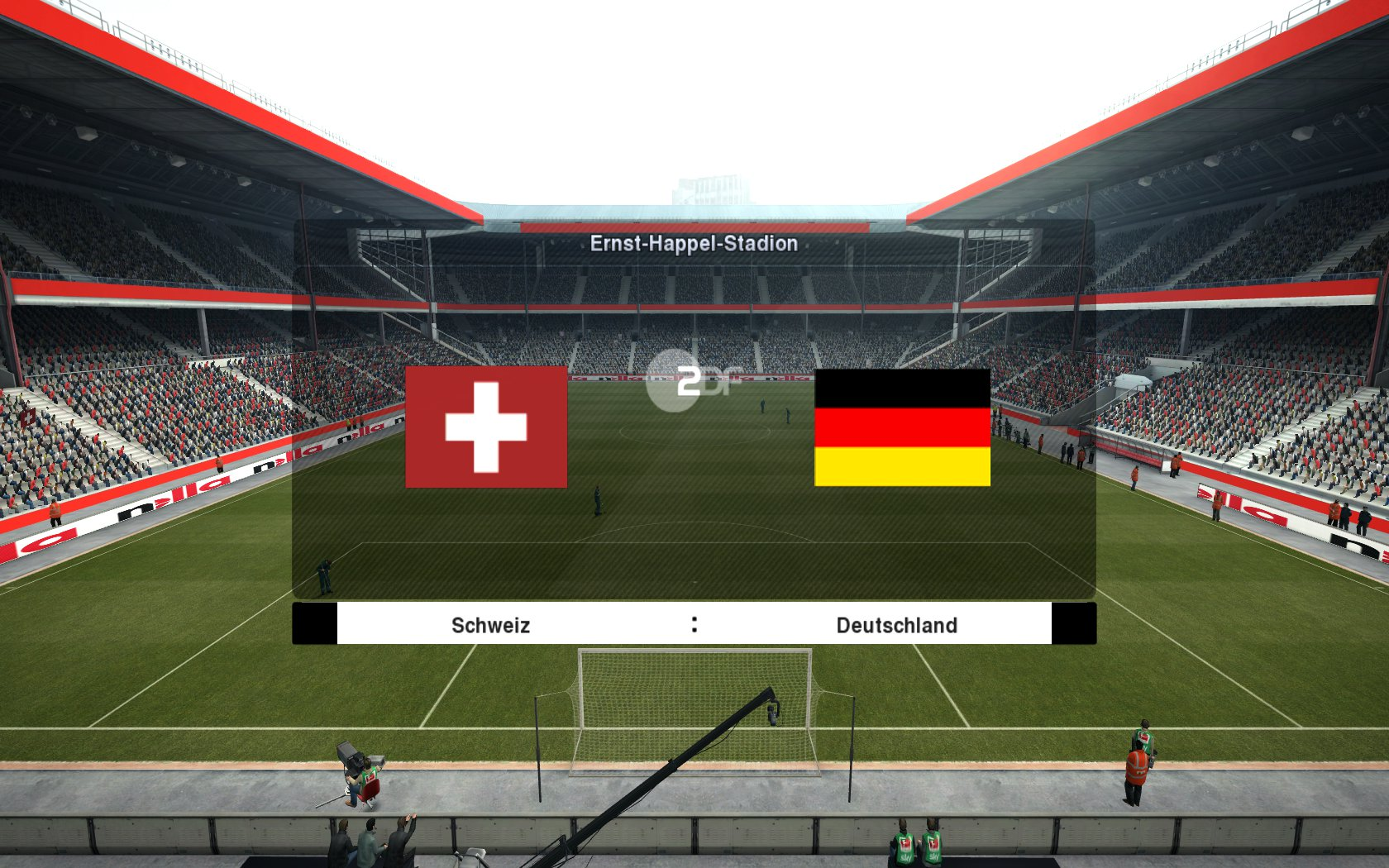 You can download Normal version and Switzerland - Germany Version for PES 2