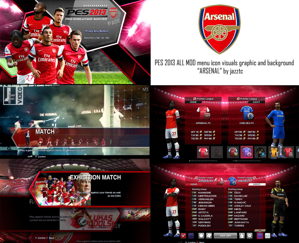 PES 2013 ALL MOD Menu Icon Visuals Graphic And Background    ARSENAL