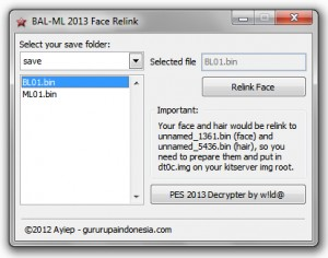 PES 2013 BAL-ML 2013 Face Relink Tools V.1.1.0