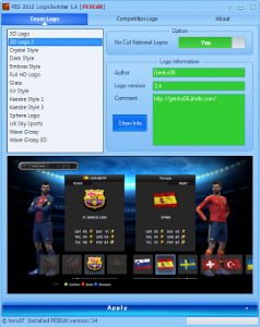PES 2013 LogoSwitcher 1.6 for PESEdit 2013 Patch 3.4