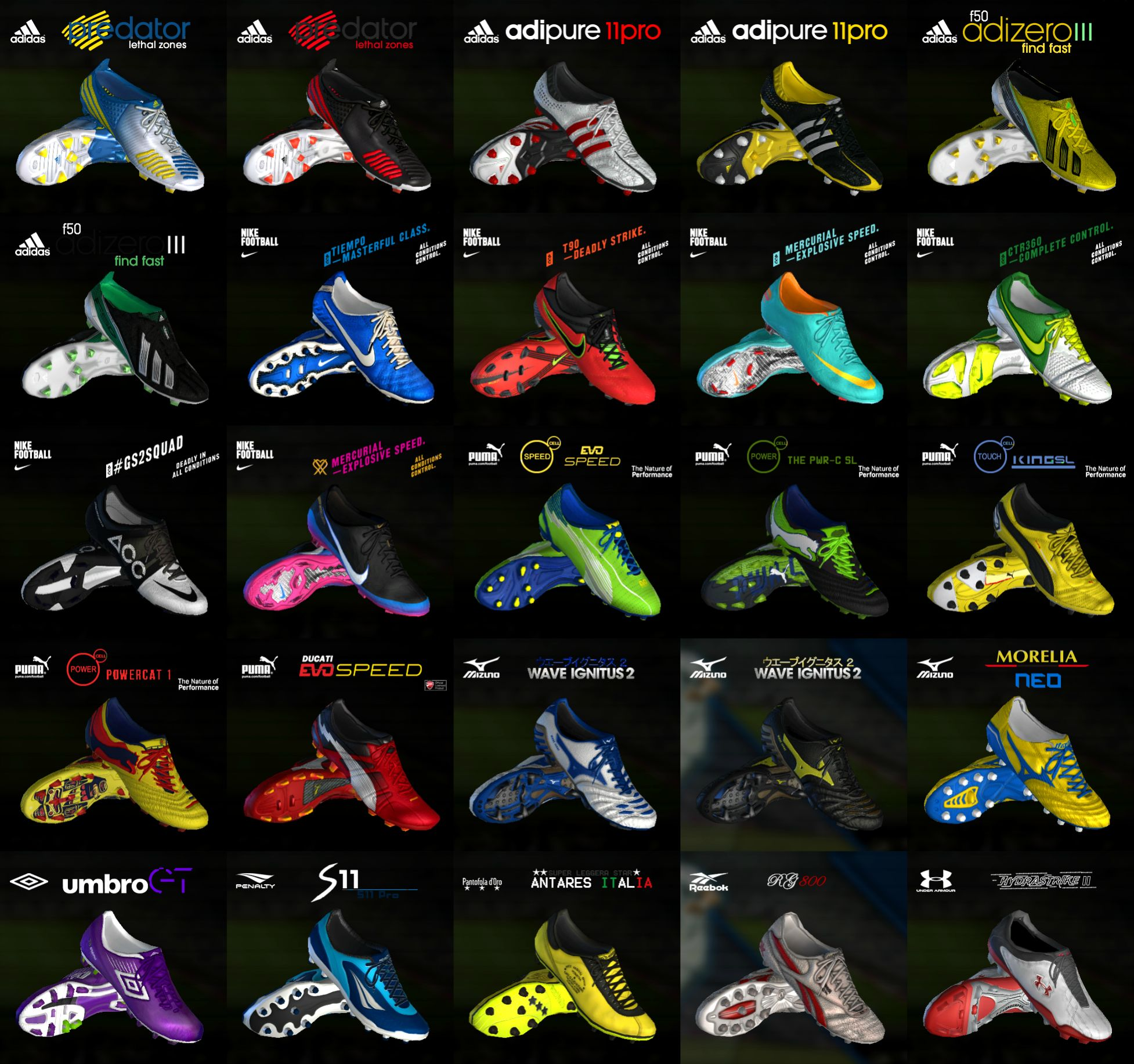 PES 2013 Pack of (81) Boots Pes 13 – V2 Full HD New Features: