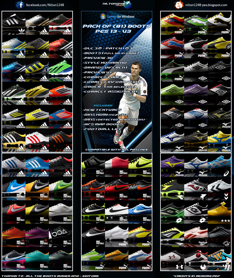 PES 2013 Pack of (81) Boots Pes 13 – V3 Full HD Compatible With All ...