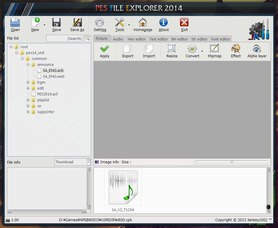 PES File Explorer 2014 version 1.0.3.4