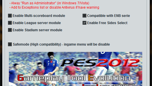 PES2012 Gameplay Tool version 4.10
