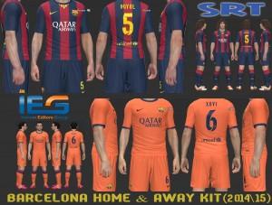 Barcelona 2014-15 Home & Away Kits By SRT