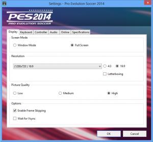 PES 2014 Full Settings FrameSkippingVsync