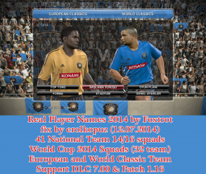 PES 2014 Unlicensed Squad List fix