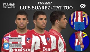 PES 2017 Luis Suarez Face + Tattoo by Farhan